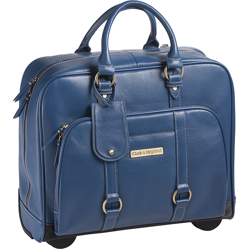 Clark Mayfield Hawthorne Leather Rolling 17.3 Laptop Bag Blue Clark Mayfield Wheeled Business Cases