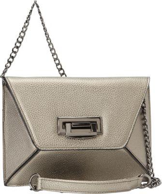 Sondra Roberts Geometric Clutch Pewter - Sondra Roberts Manmade Handbags