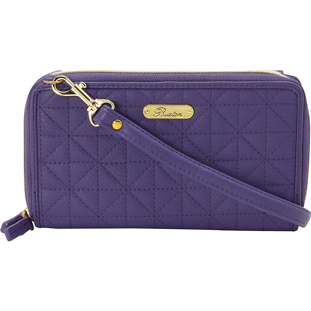 Buxton Double Diamond Quilt Ultimate Double Zip Organizer Mulberry Buxton Women s Wallets