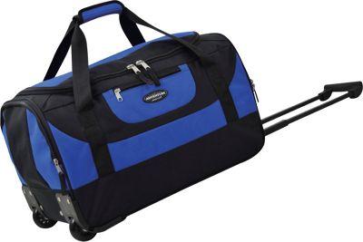 Travelers Club Luggage Adventure 20 inch Multi-Pocket Rolling Carry-On Duffel Blue - Travelers Club Luggage Travel Duffels