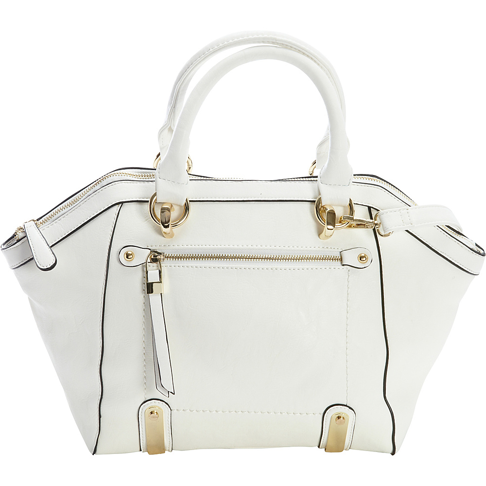 Diophy Multi Compartment Satchel White Diophy Manmade Handbags