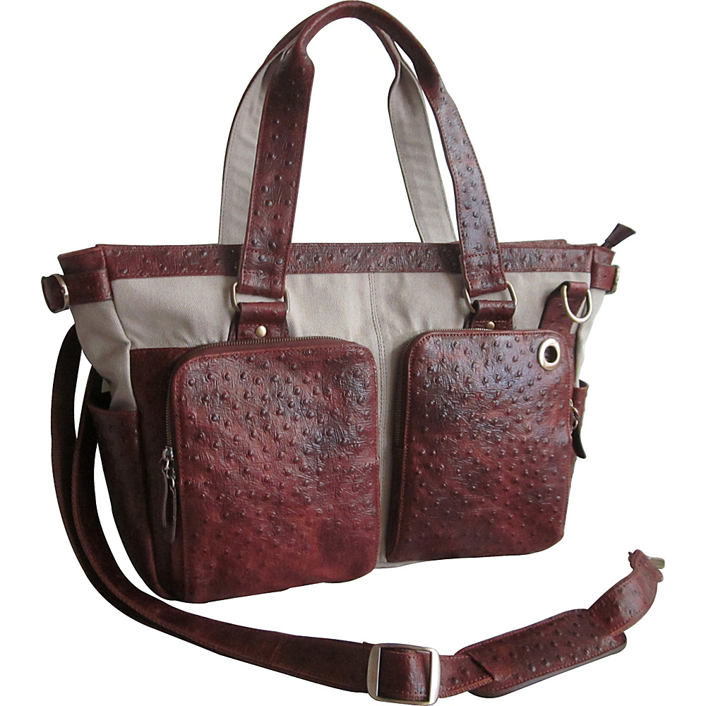 AmeriLeather Two-Pocket Vika Shoulder Bag Brown Ostrich Print - AmeriLeather Leather Handbags - Handbags, Leather Handbags