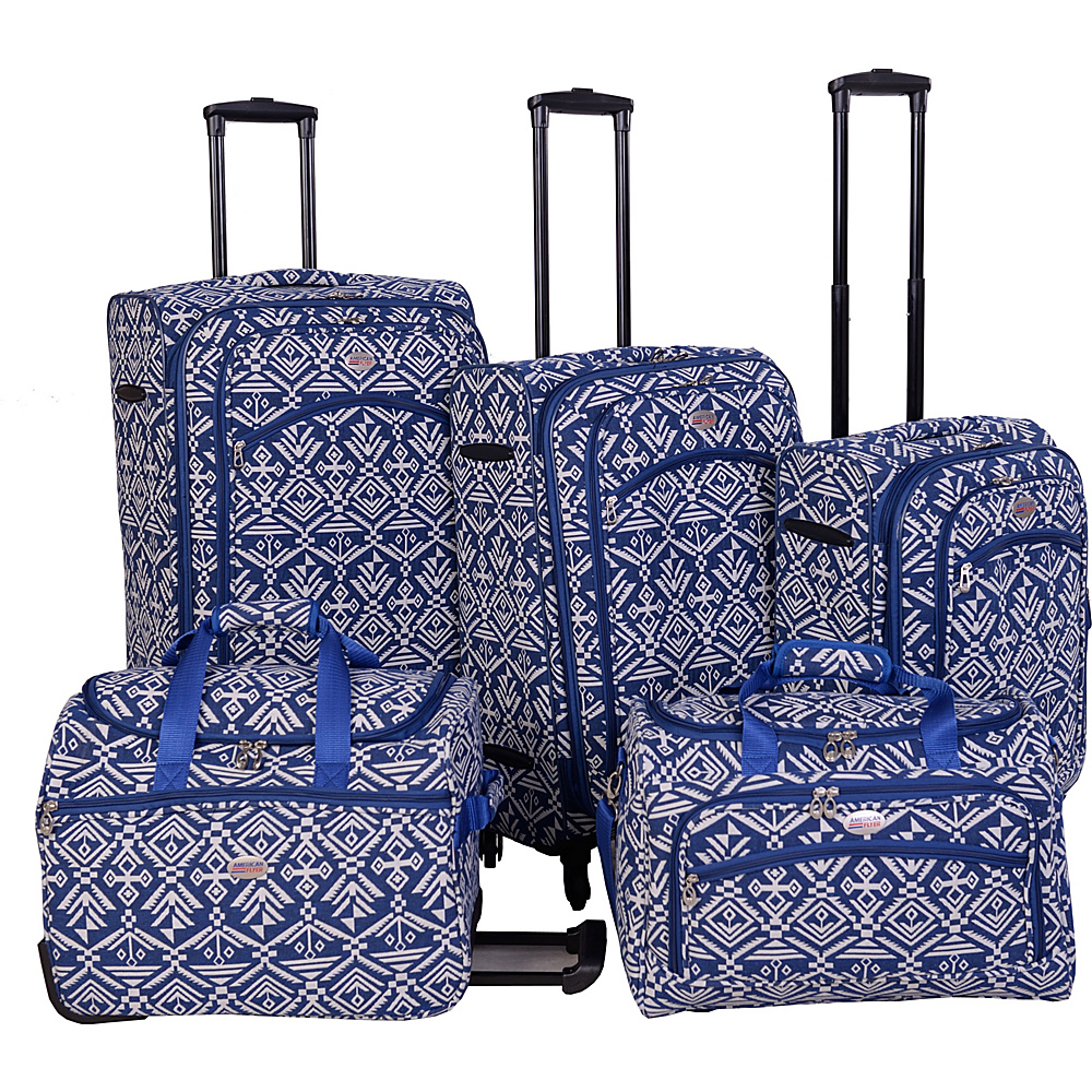 American Flyer Aztec Spinner Luggage Set 5pc Blue American Flyer Luggage Sets