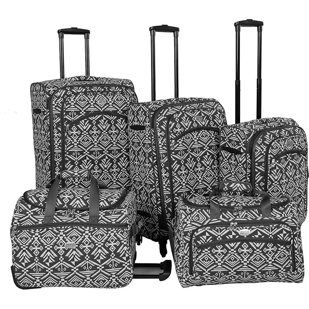 American Flyer Aztec Spinner Luggage Set 5pc Black White American Flyer Luggage Sets