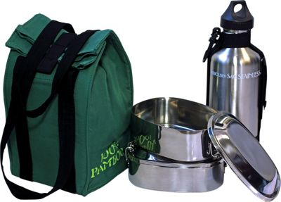 New Wave Stainless Container Set w/Bamboo Lunch Bag Brushed Stainless Steel & Green Lunch Bag - New Wave Travel Coolers