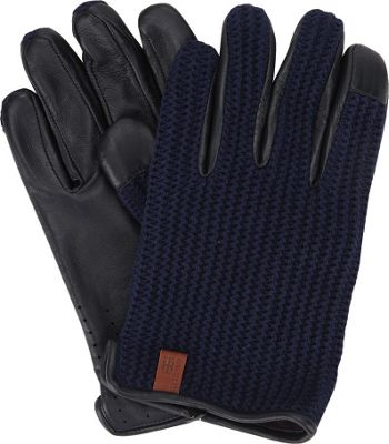 Ben Sherman Leather Knit Driving Gloves Navy Blazer - Small - Ben Sherman Gloves