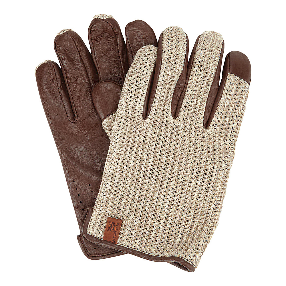 Ben Sherman Leather Knit Driving Gloves Champagne Small Ben Sherman Hats Gloves Scarves