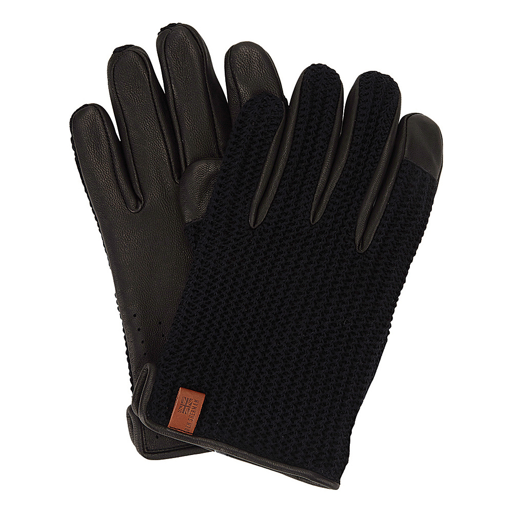 Ben Sherman Leather Knit Driving Gloves Jet Black Small Ben Sherman Hats Gloves Scarves