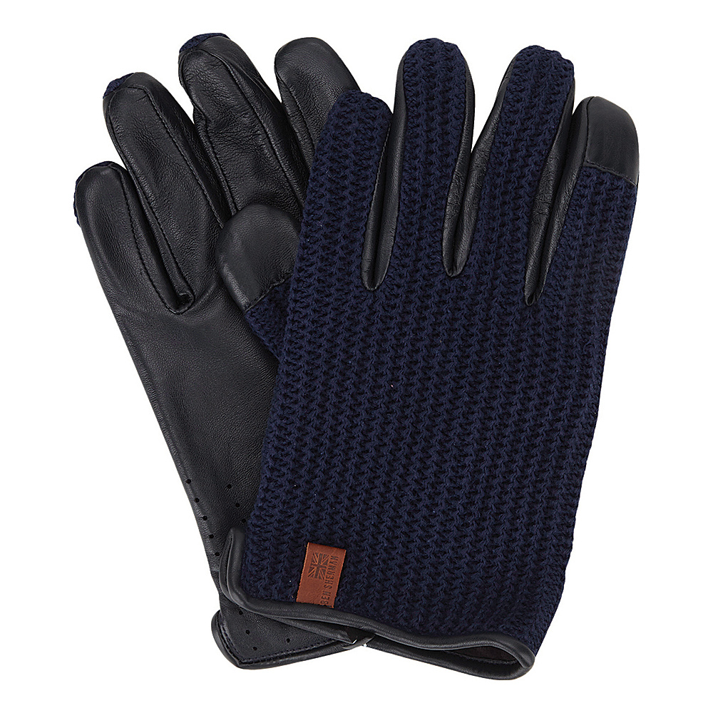 Ben Sherman Leather Knit Driving Gloves Navy Blazer Large Ben Sherman Hats Gloves Scarves