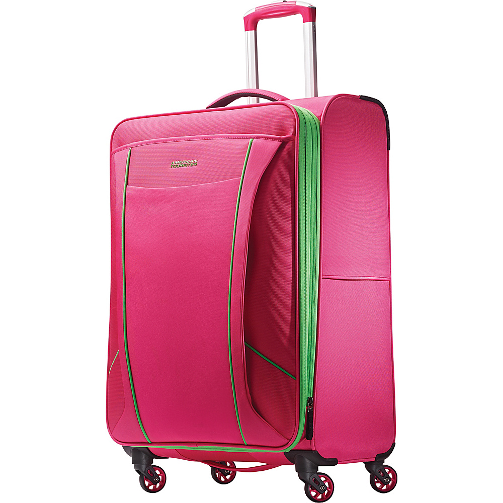 """American Tourister Skylite 25"""" Spinner Raspberry/Lime - American Tourister Large Rolling Luggage"""