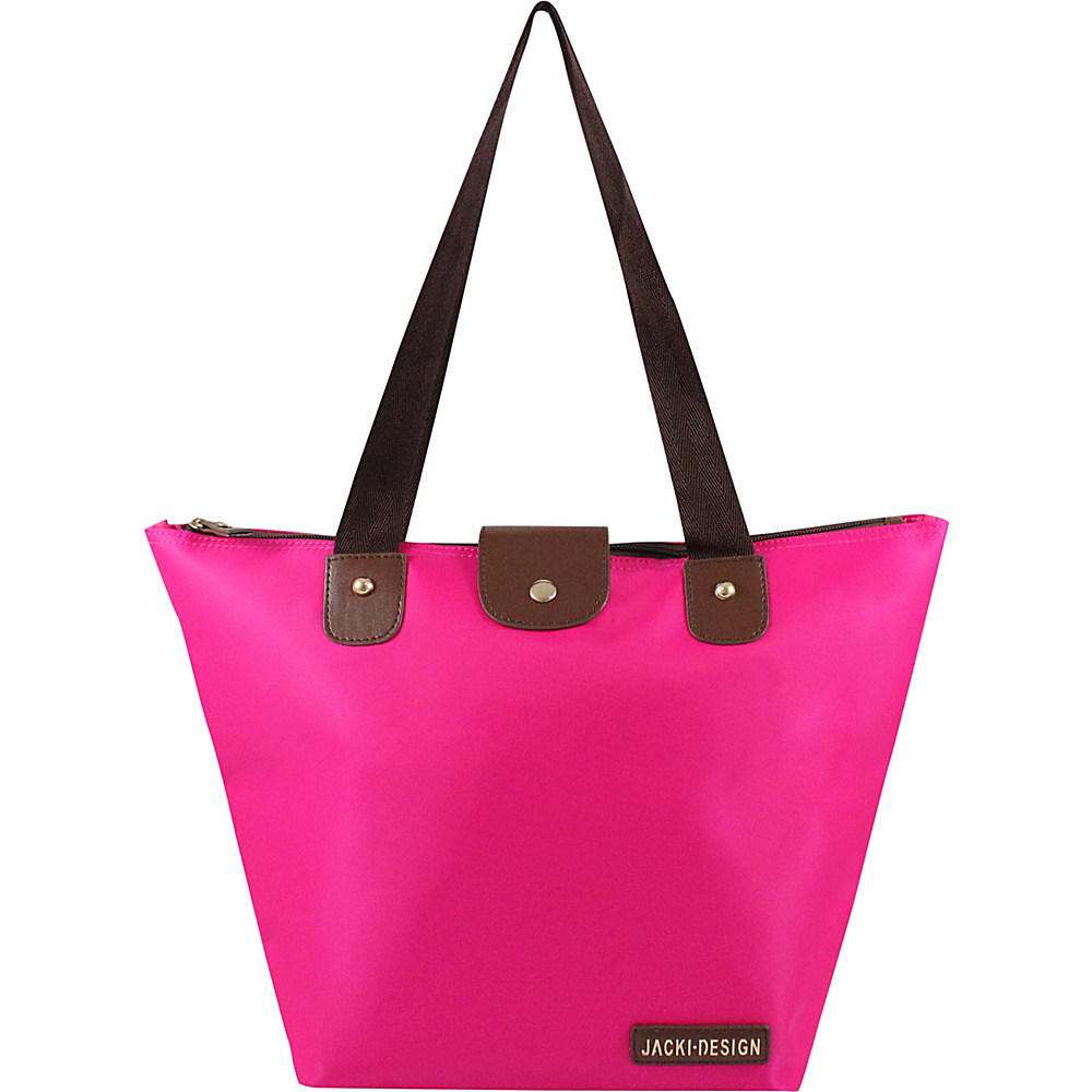 Jacki Design Essential Foldable Tote Bag Small Hot Pink Jacki Design Fabric Handbags