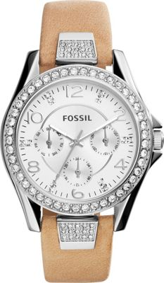Fossil Riley Multifunction Leather Watch Brown - Fossil Watches