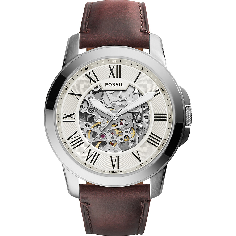 Fossil Townsman Automatic Leather Watch Dark Brown/Silver - Fossil Watches - Fashion Accessories, Watches