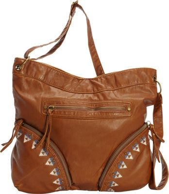 T-shirt & Jeans Washed Hobo with Embroidery Cognac - T-shirt & Jeans Manmade Handbags