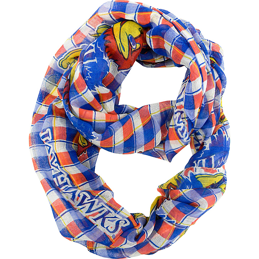 Littlearth Sheer Infinity Scarf Plaid - Big 12 Teams Kansas, U of - Littlearth Hats/Gloves/Scarves - Fashion Accessories, Hats/Gloves/Scarves