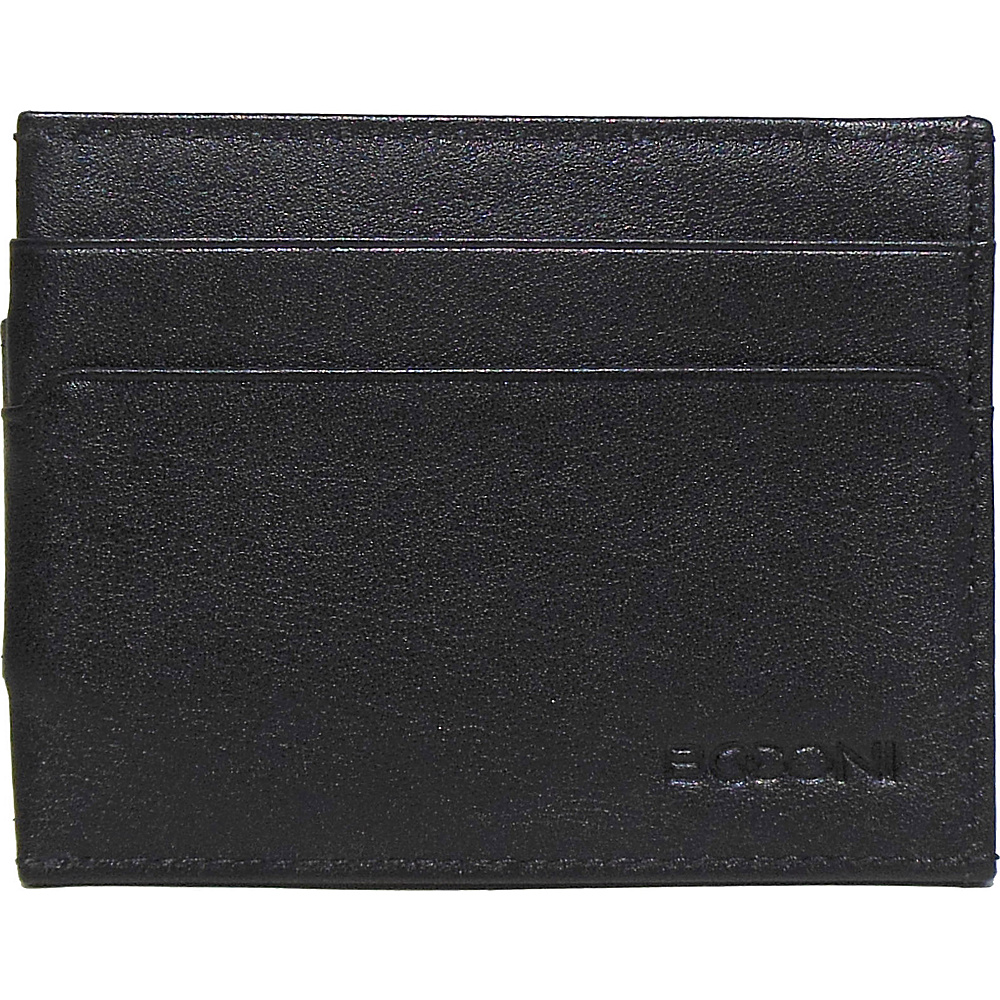 Boconi Grant RFID Magnetic Money Clip Card Case Black Leather with Gray Boconi Men s Wallets