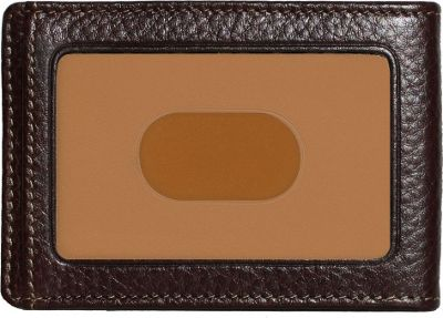 Boconi Tyler Tumbled RS RFID Two Fold Money Clip Coffee w/ terra cotta - Boconi Men's Wallets
