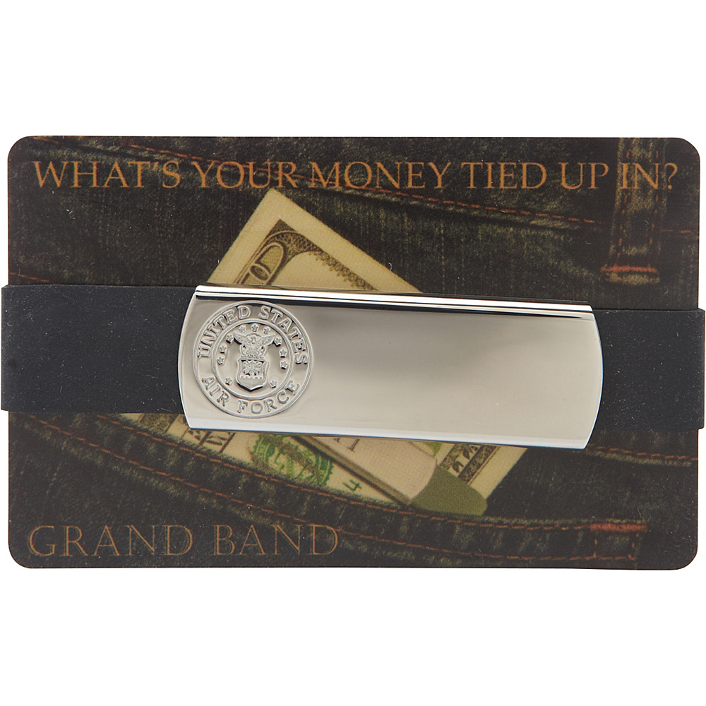 Budd Leather XL Stainless Steel Grand Band Silver Air Force Budd Leather Men s Wallets