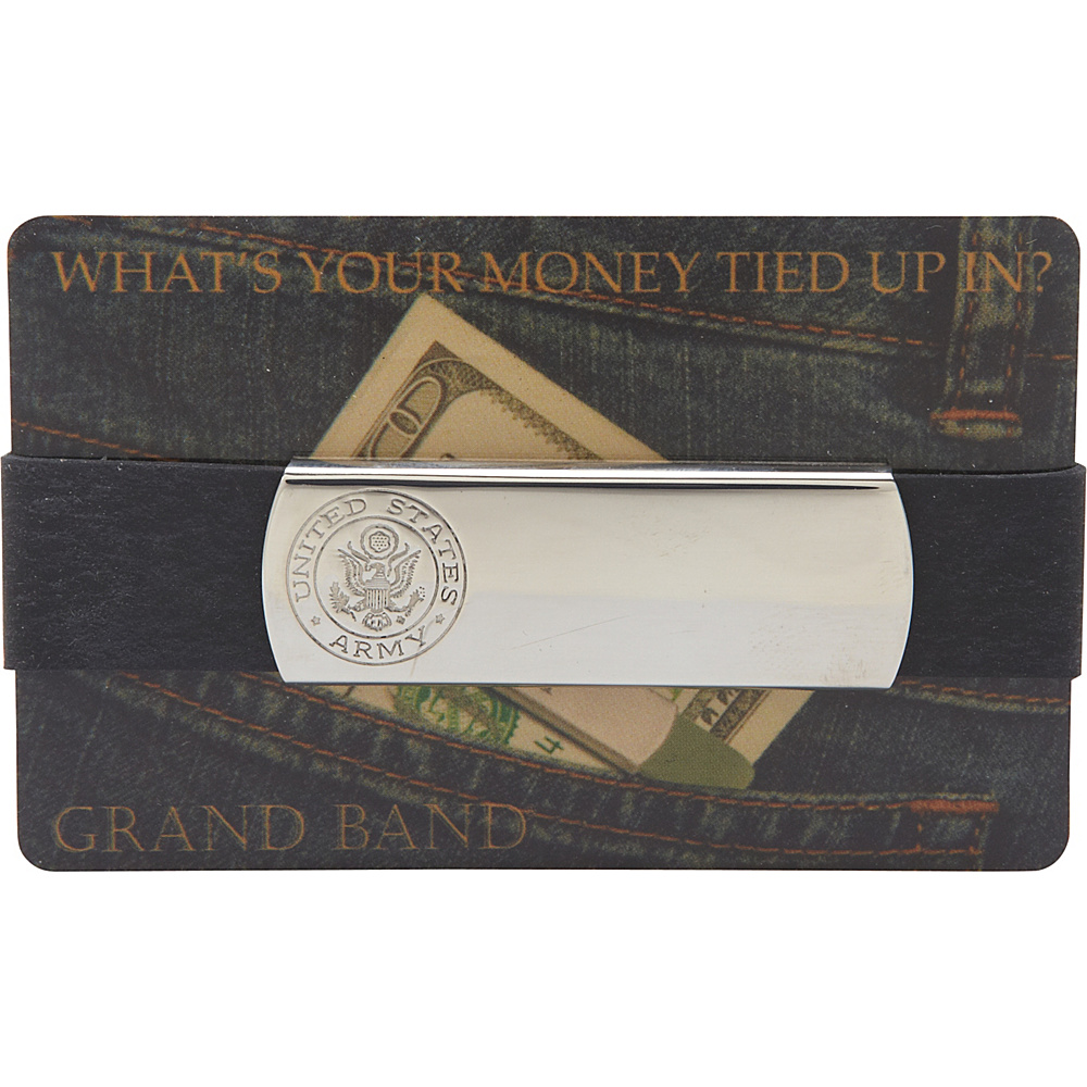 Budd Leather XL Stainless Steel Grand Band Silver Army Logo Budd Leather Men s Wallets