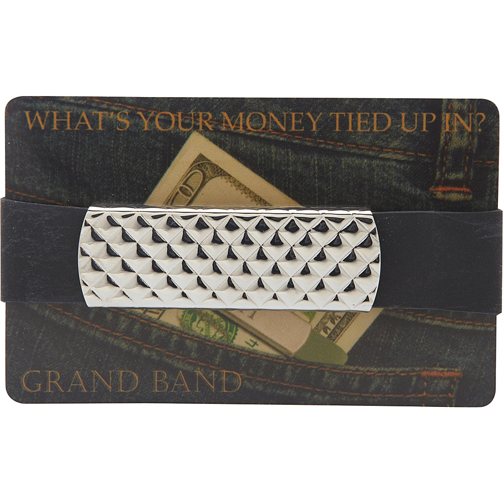 Budd Leather XL Stainless Steel Grand Band Silver Diamond Design Budd Leather Men s Wallets