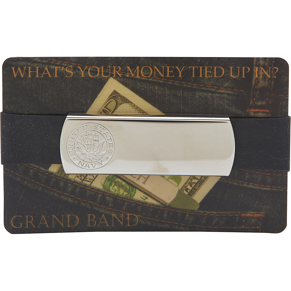 Budd Leather XL Stainless Steel Grand Band Silver Navy Logo Budd Leather Men s Wallets