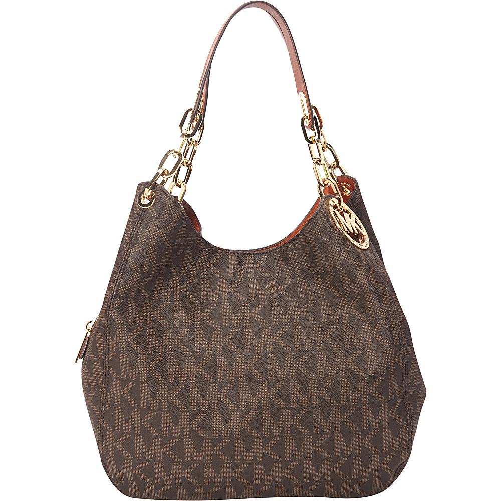MICHAEL Michael Kors Fulton Large Shoulder Tote Brown - MICHAEL Michael Kors Designer Handbags