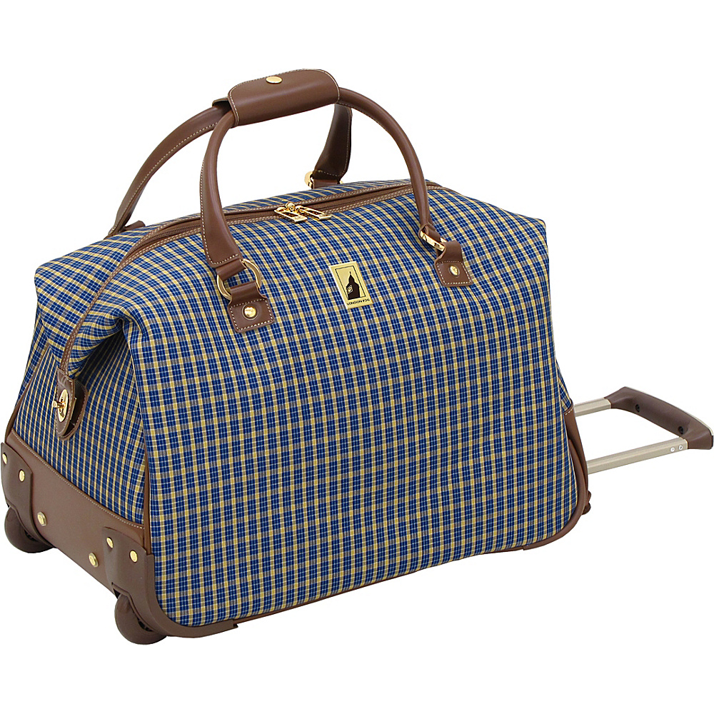 "London Fog Kensington 20"" Wheeled Club Bag Blue Tan Plaid - London Fog Softside Checked"