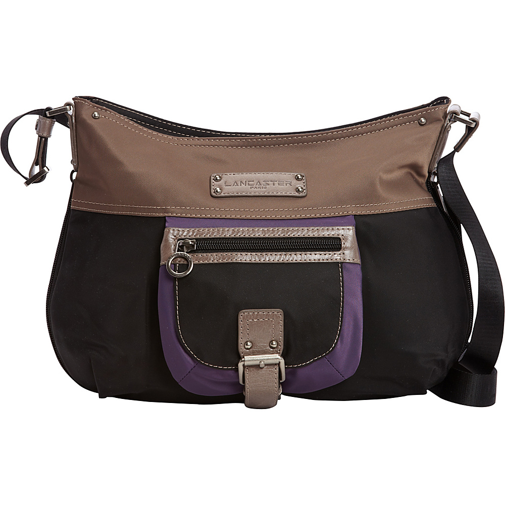 Lancaster Paris Nylon Leather Traveler Black Purple Lancaster Paris Fabric Handbags