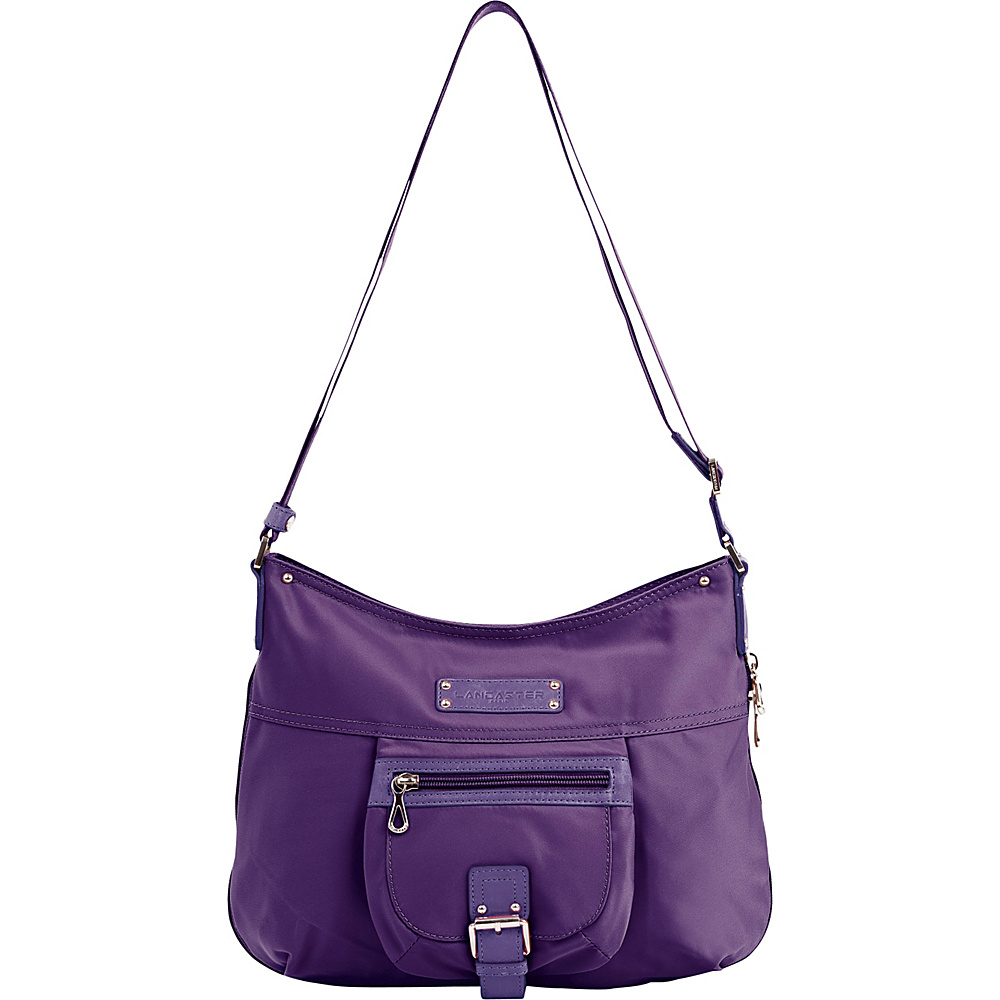 Lancaster Paris Nylon Leather Traveler Violet Lancaster Paris Fabric Handbags