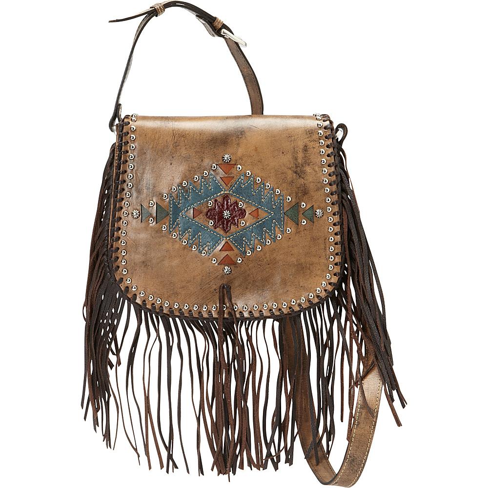 American West Pueblo Moon Fringe Flap Crossbody Distressed Charcoal Brown American West Leather Handbags