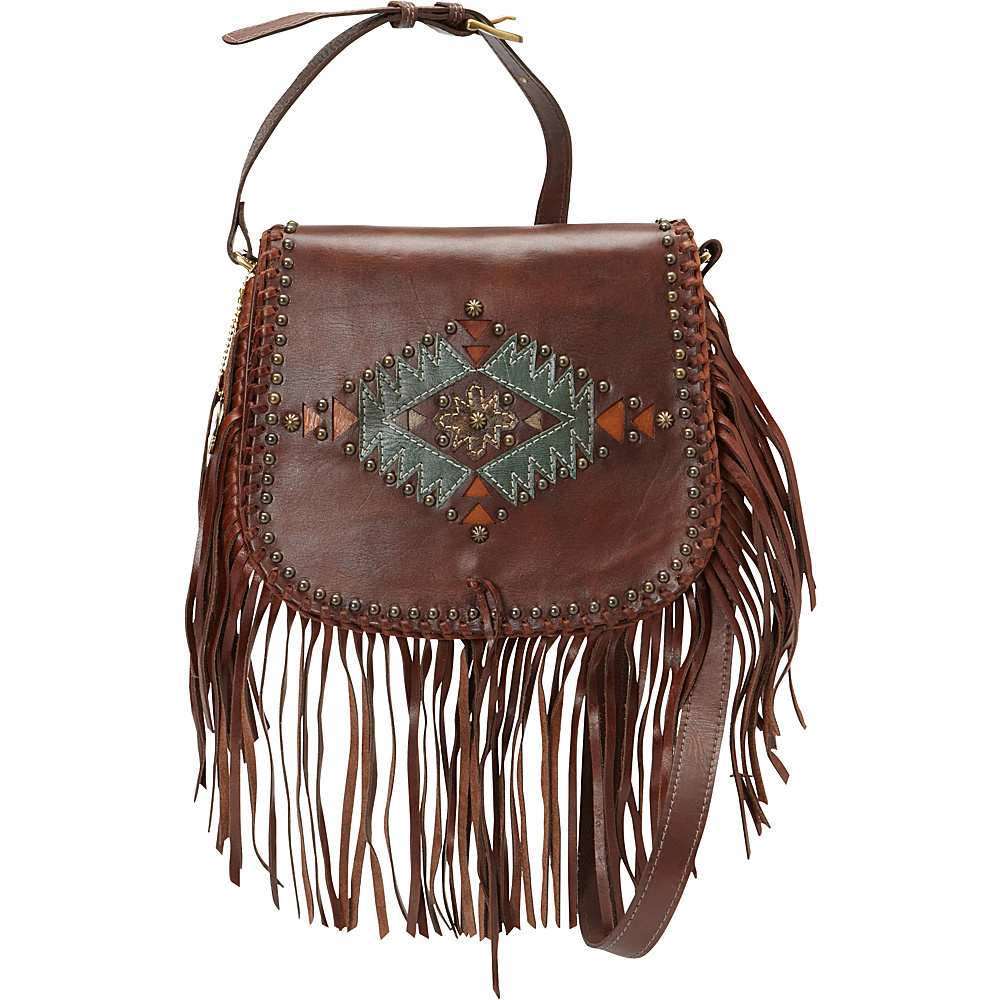 American West Pueblo Moon Fringe Flap Crossbody Chestnut Brown American West Leather Handbags