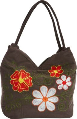 Image of Bamboo 54 Embroidered Hobo Bblk - Bamboo 54 Fabric Handbags