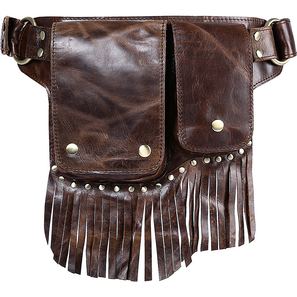 Vicenzo Leather Avril Leather Fringe Waist Pack Brown Vicenzo Leather Waist Packs