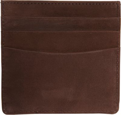 Vicenzo Leather Island Saddle Full Grain Leather Slim Card Case Brown - Vicenzo Leather Men's Wallets