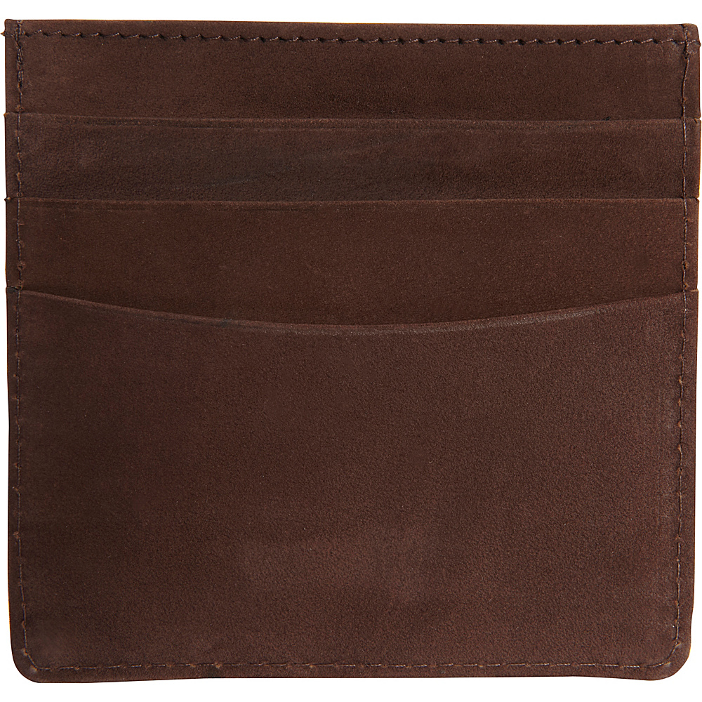 Vicenzo Leather Island Saddle Full Grain Leather Slim Card Case Brown Vicenzo Leather Men s Wallets