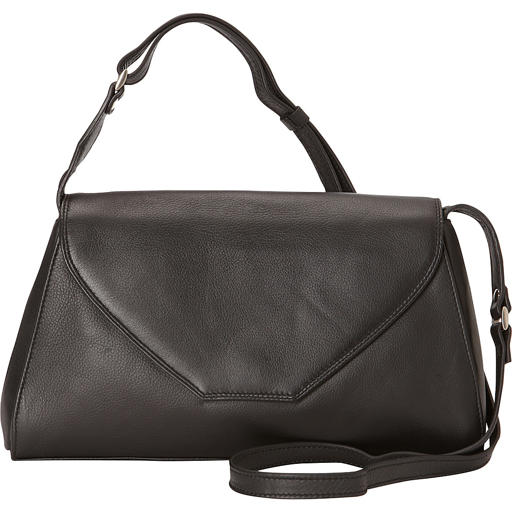 Derek Alexander East/West Half Flap Shoulder Bag Black - Derek Alexander Leather Handbags - Handbags, Leather Handbags