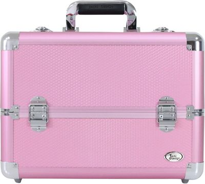 Jacki Design Carrying Makeup Salon Train Case with Expandable Trays Pink - Jacki Design Toiletry Kits