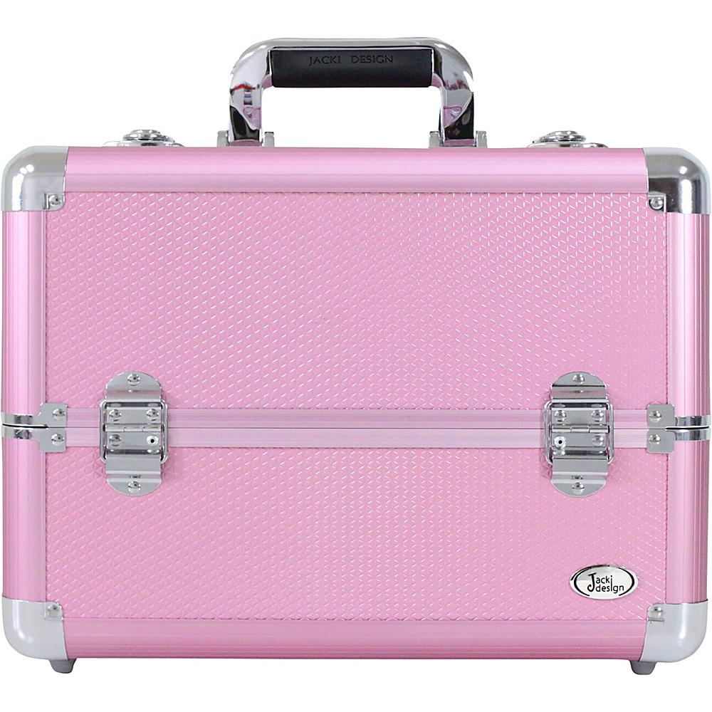 Jacki Design Carrying Makeup Salon Train Case with Expandable Trays Pink - Jacki Design Toiletry Kits