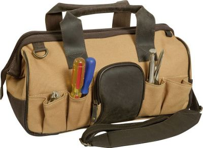 Canyon Outback Big Sky 16-inch Canvas and Leather Tool BagBeige and Beige and Brown - Canyon Outback Travel Duffels