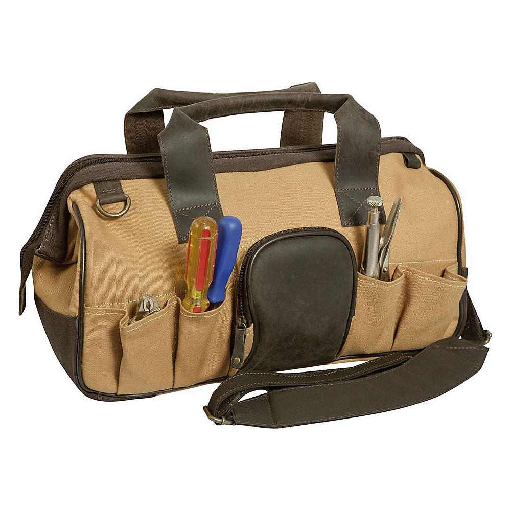 Canyon Outback Big Sky 16 inch Canvas and Leather Tool BagBeige and Beige and Brown Canyon Outback Travel Duffels
