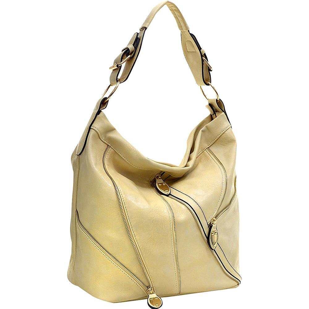Dasein Zipper Front Hobo Tan Dasein Manmade Handbags