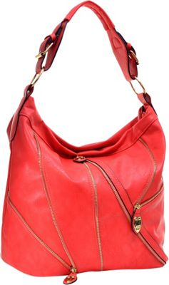 Dasein Zipper Front Hobo Red - Dasein Manmade Handbags
