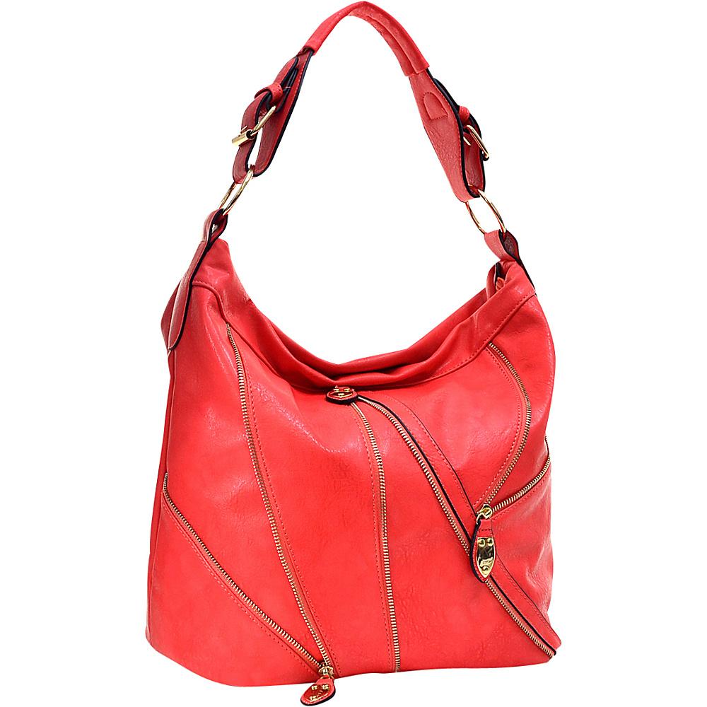 Dasein Zipper Front Hobo Red Dasein Manmade Handbags