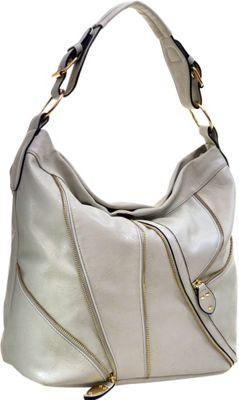 Dasein Zipper Front Hobo Light Grey - Dasein Manmade Handbags