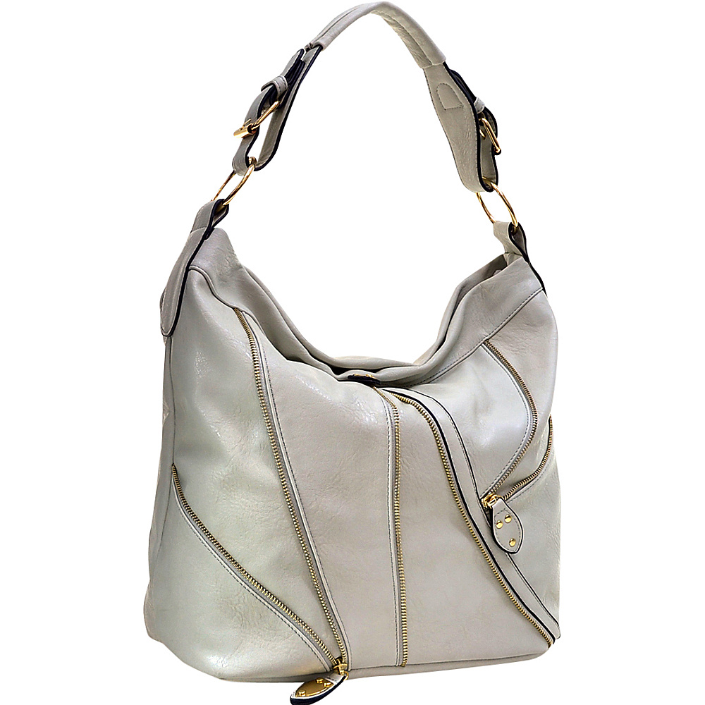 Dasein Zipper Front Hobo Light Grey - Dasein Manmade Handbags - Handbags, Manmade Handbags