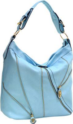 Dasein Zipper Front Hobo Blue - Dasein Manmade Handbags