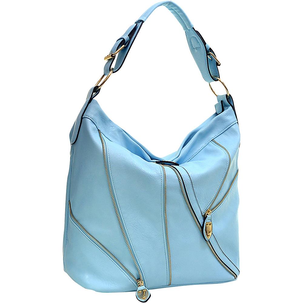 Dasein Zipper Front Hobo Blue Dasein Manmade Handbags