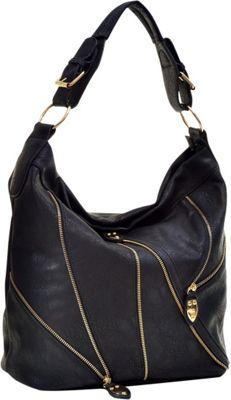Dasein Zipper Front Hobo Black - Dasein Manmade Handbags