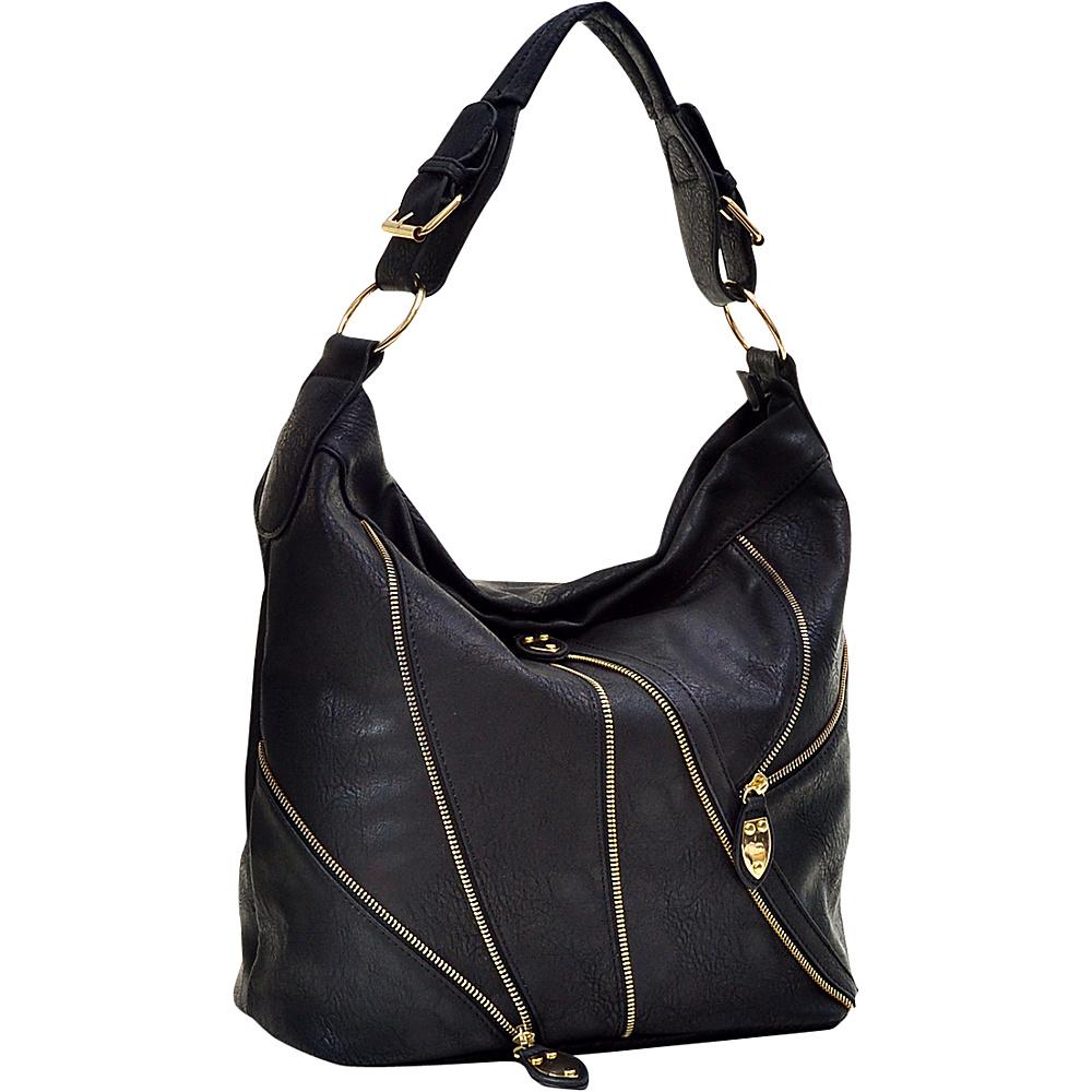 Dasein Zipper Front Hobo Black Dasein Manmade Handbags