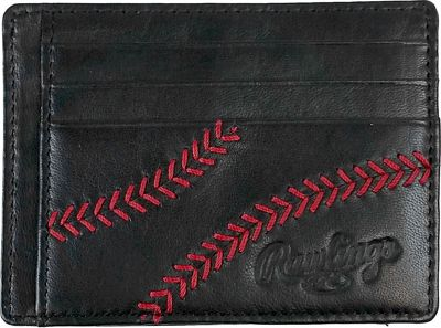 Rawlings Baseball Stitch Card Case Black - Rawlings Men's Wallets